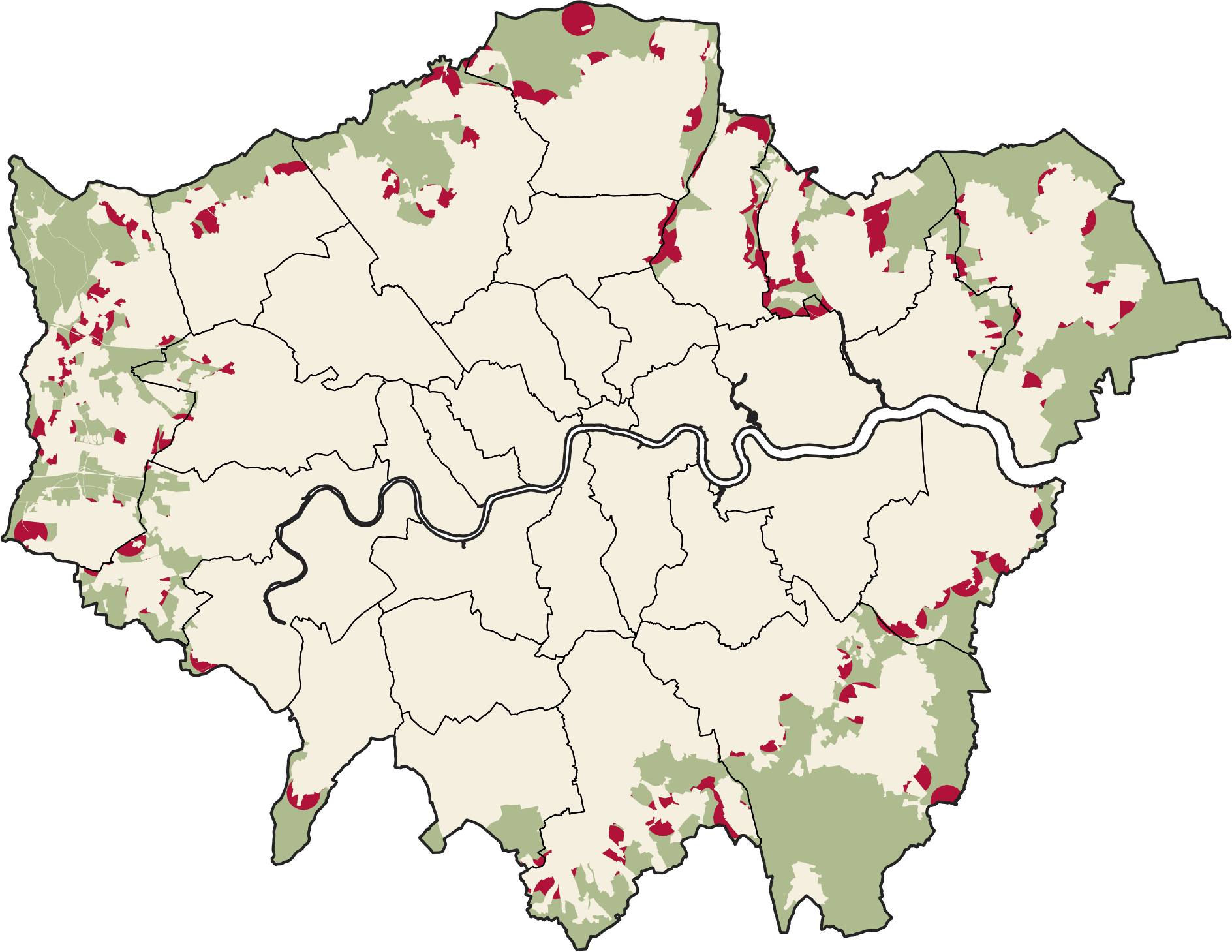 Map of all green belt in London