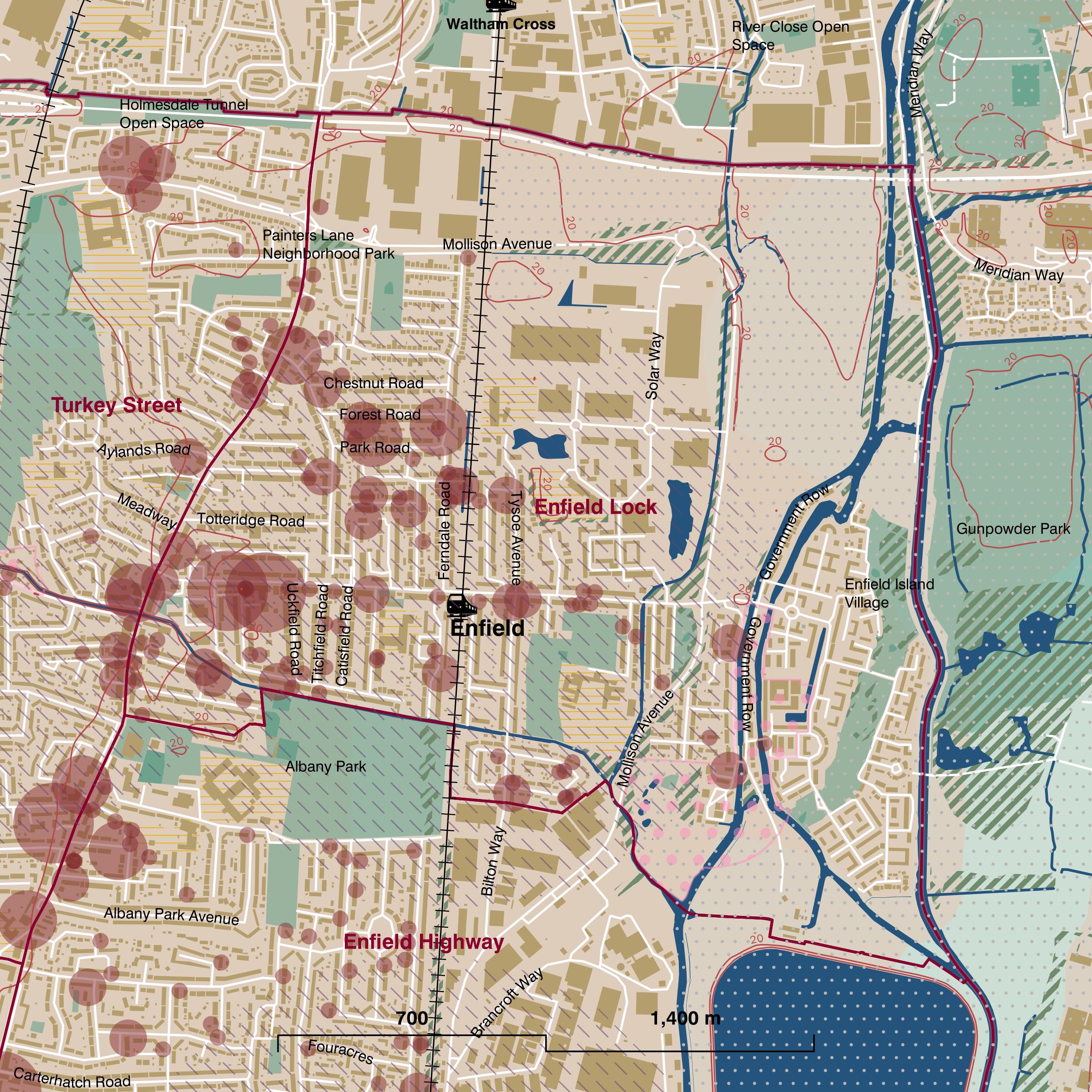 Map of Enfield Lock ward