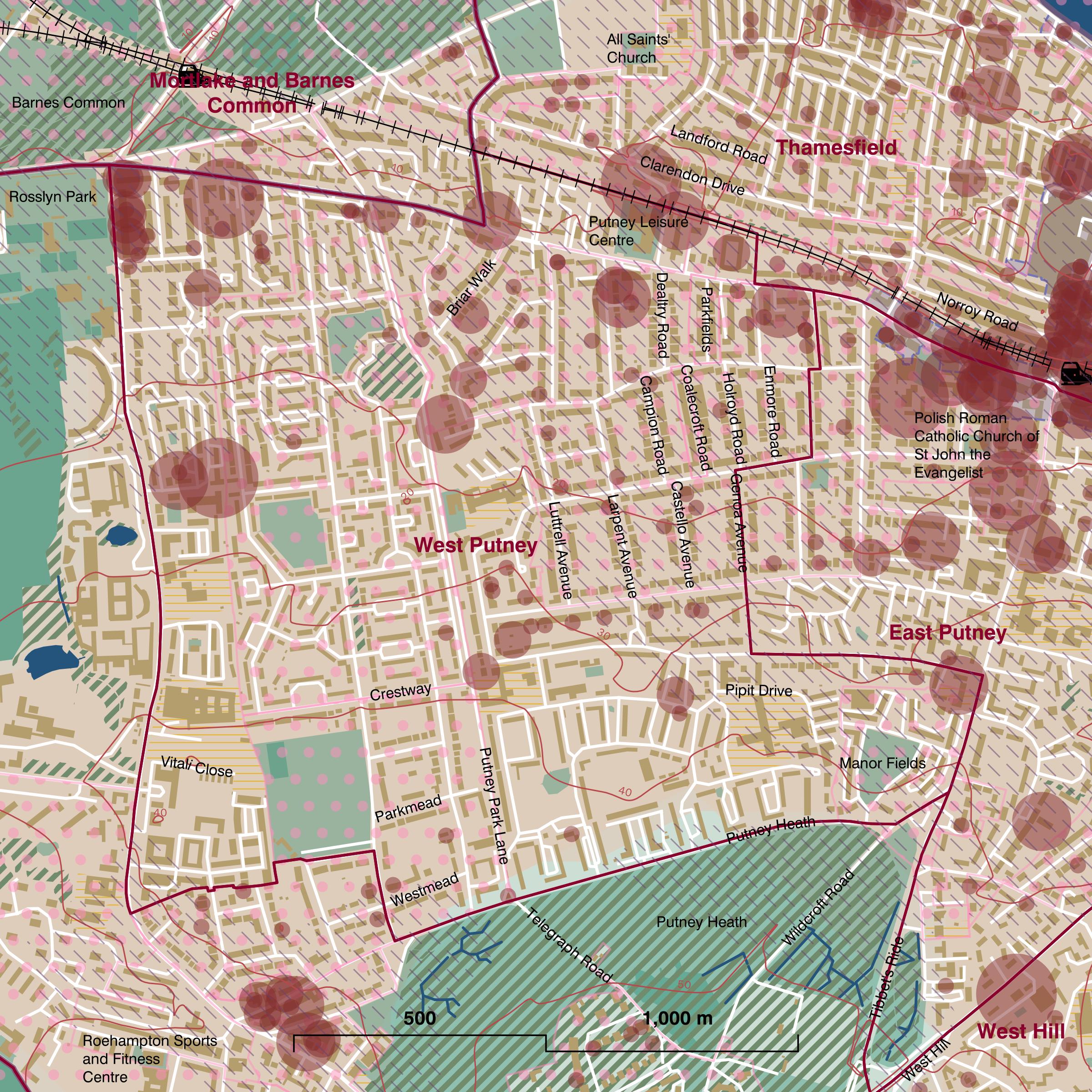 Map of West Putney ward